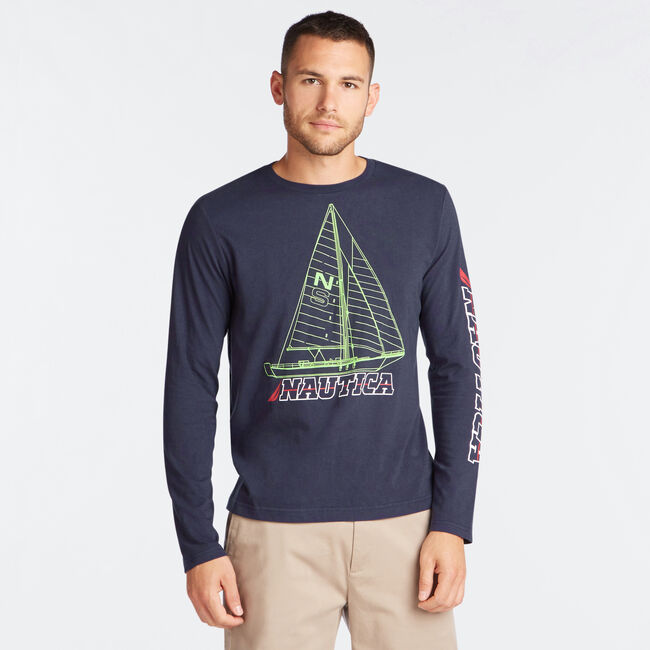 SAILBOAT BLUE PRINT LONG SLEEVE GRAPHIC TEE,Navy,large