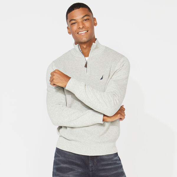 QUARTER ZIP RIBBED FRONT SWEATER - Grey Heather