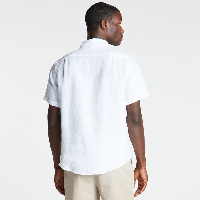 Classic Fit Short Sleeve Linen Shirt,Bright White,large