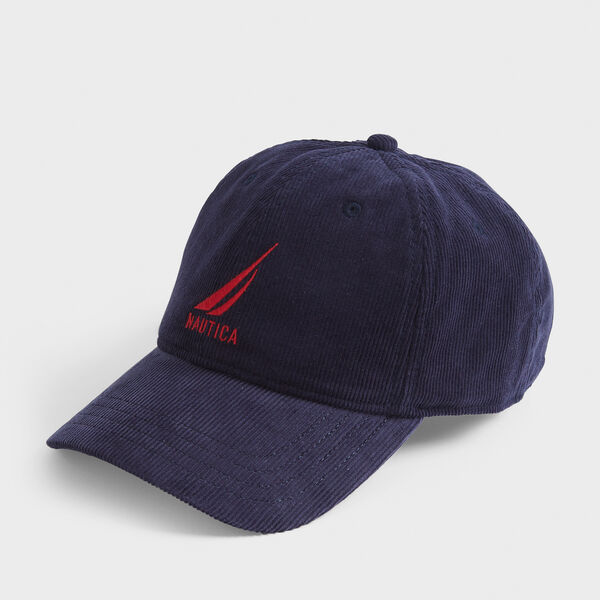 EMBROIDERED LOGO CORDUROY CAP - Navy