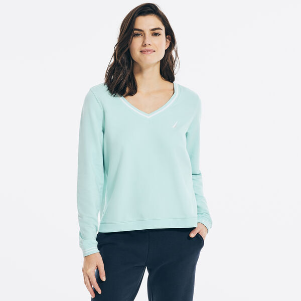 SUSTAINABLY CRAFTED LOGO V-NECK SWEATSHIRT - Aqua Splash