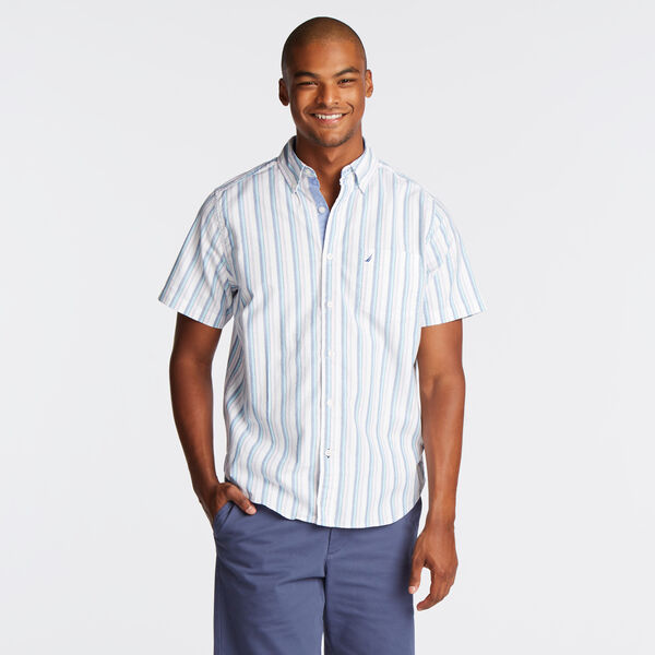 CLASSIC FIT SHORT SLEEVE SHIRT IN VERTICAL STRIPE - Bright White