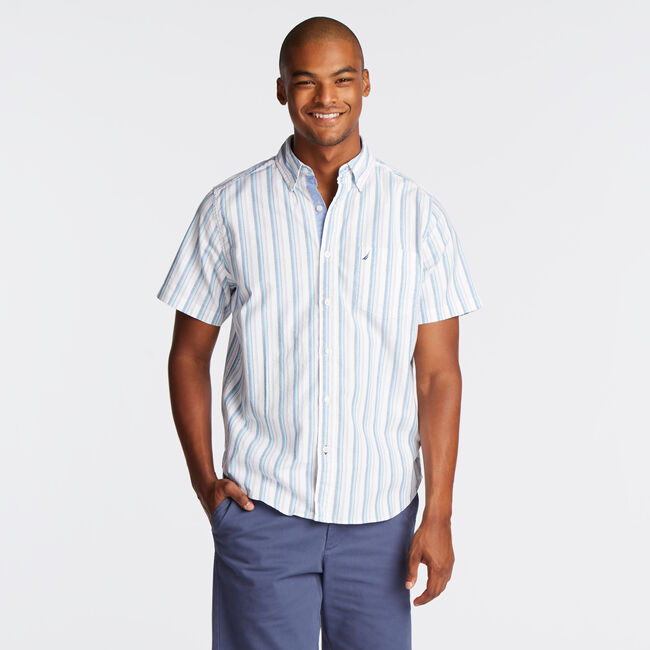 CLASSIC FIT SHORT SLEEVE SHIRT IN VERTICAL STRIPE,Bright White,large