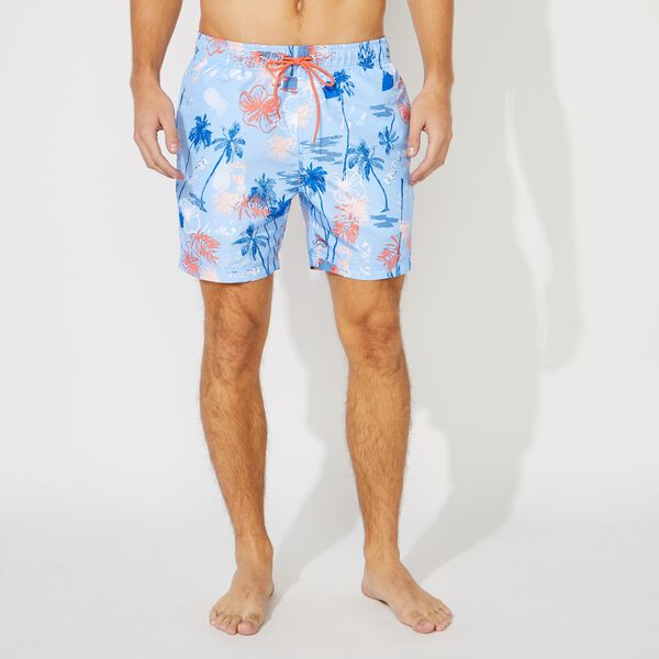 "6"" ISLAND PRINT SWIM SHORT - Azure Blue"
