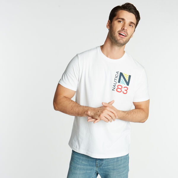 JERSEY T-SHIRT IN OCEAN RACE GRAPHIC - Bright White