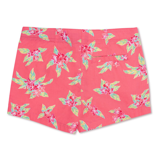 Girls' Tropical Flower Shorts (7-16),Firey Red,large