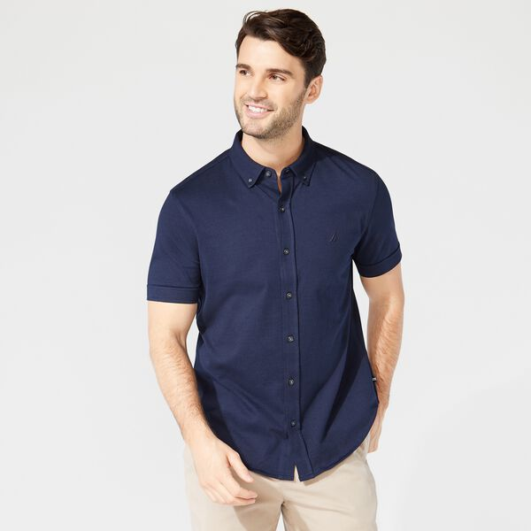 HARBOR SHIRT IN SOLID KNIT COTTON - Navy