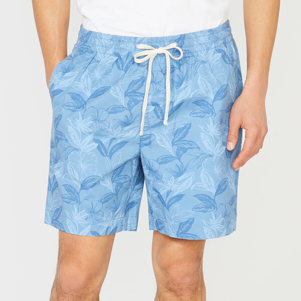 BIG & TALL FLORAL PRINT SHORT - Riviera Blue