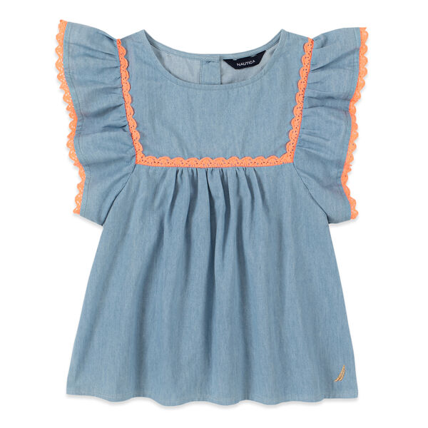 GIRLS' CROCHET-TRIMMED RUFFLED SLEEVE TOP (8-20) - Nite Sea Heather