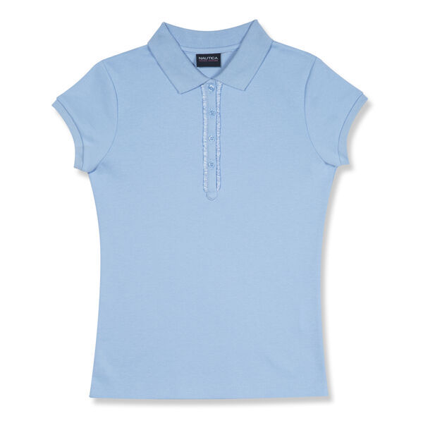 Girls' Polo with Ruffle Placket - Turquoise