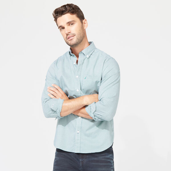 CLASSIC FIT POPLIN SHIRT IN MICRO GINGHAM - Spruce