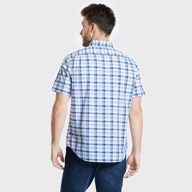 Big & Tall Short Sleeve Plaid Classic Fit Shirt,Leis Pink,large