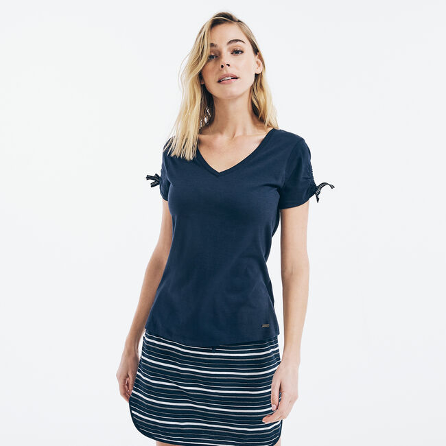 SUSTAINABLY CRAFTED RUCHED TIE-SLEEVE V-NECK TOP,Stellar Blue Heather,large