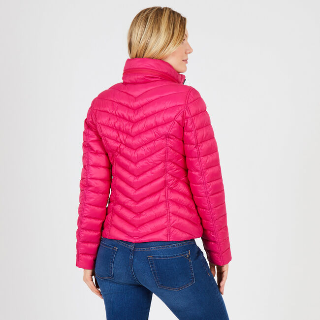 Reversible Packable Puffer Jacket,Red Chili,large