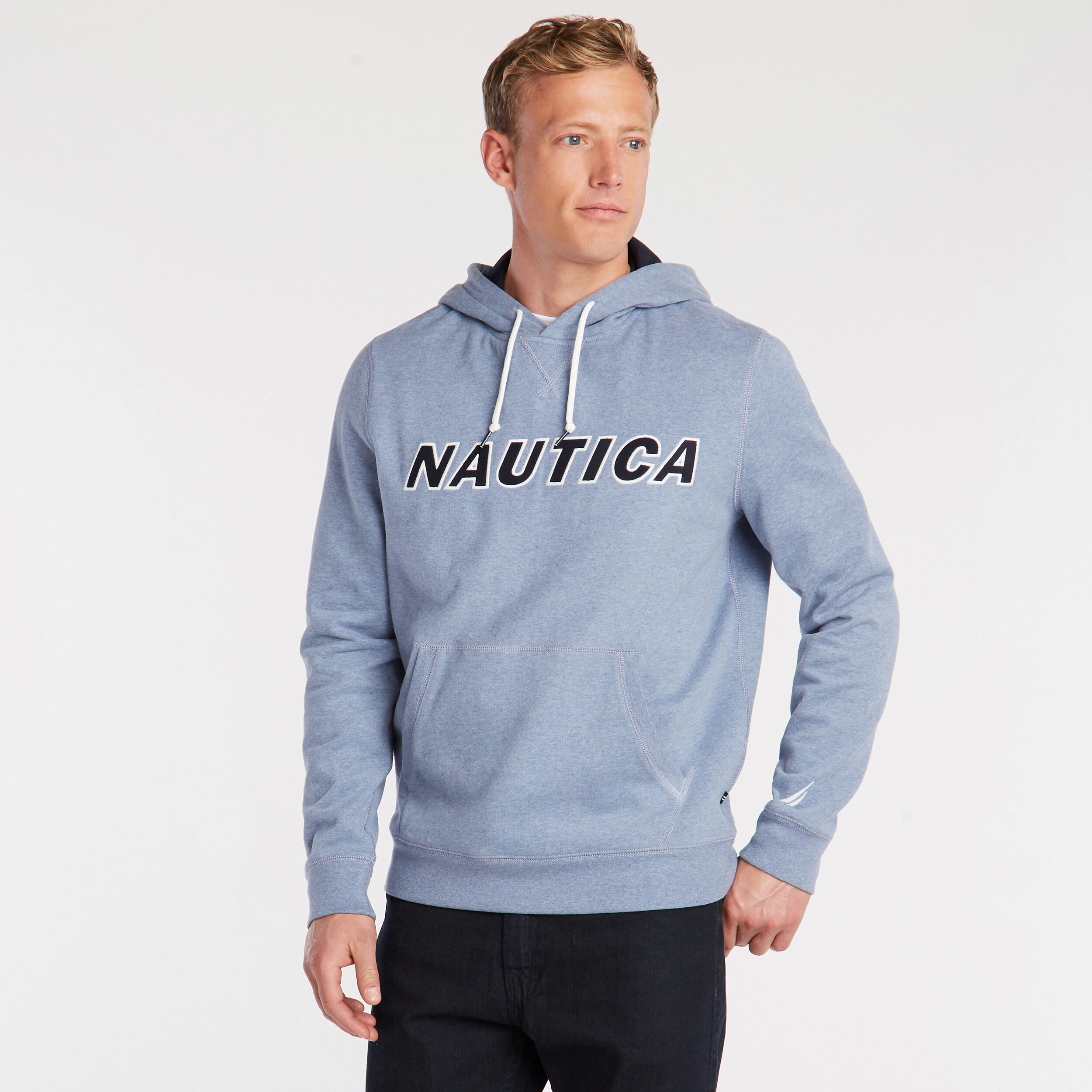 Nautica Men Signature Logo Sweatshirt Long Sleeve Pullover Navy Blue Heather 2XL