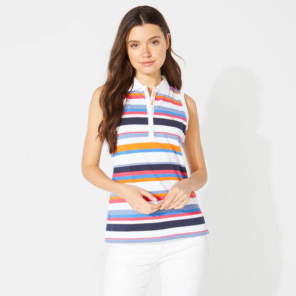 CLASSIC FIT STRIPED SLEEVELESS POLO - Bright White