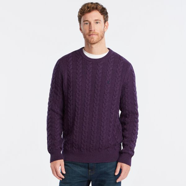 J-CLASS CABLE-KNIT SWEATER - Blackberry Heather
