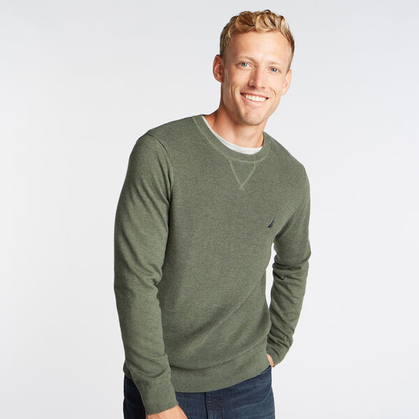 CREWNECK RIBBED FRONT SWEATER - Pine Forest Heather