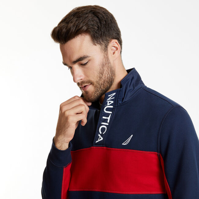 Long Sleeve Colorblock Half-Snap Classic Fit Polo,Navy,large