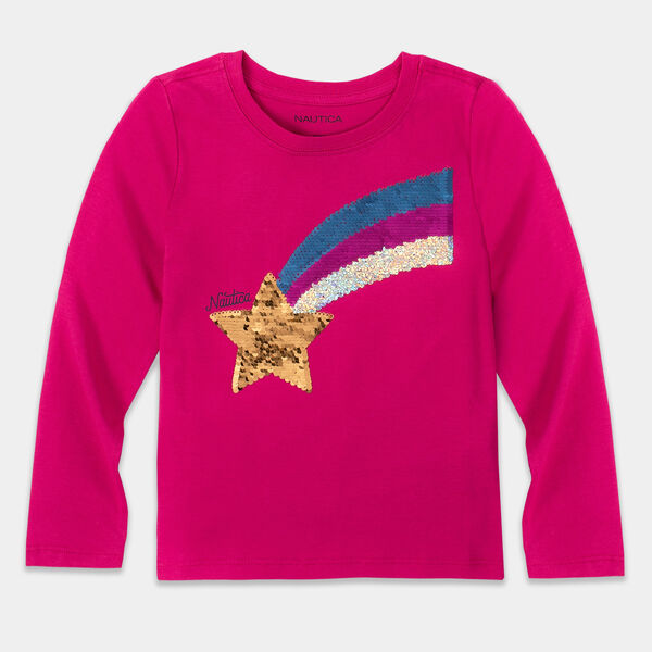 LITTLE GIRLS' REVERSIBLE SEQUIN GRAPHIC LONG SLEEVE T-SHIRT (4-7) - Mauve Glow