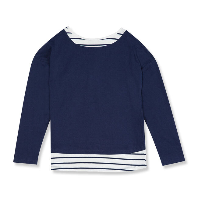 Toddler Girls' Metallic Logo Layered Top (2T-4T),Navy,large