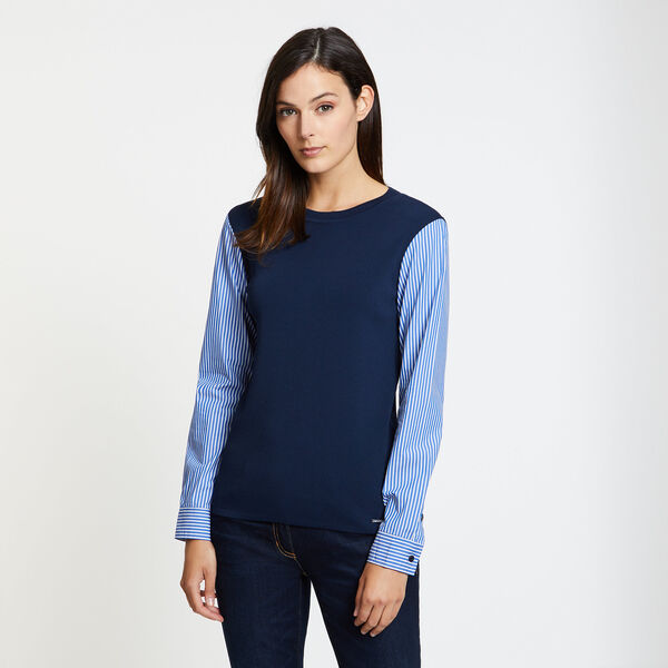 Striped Sleeve Crewneck Sweater - Stellar Blue Heather