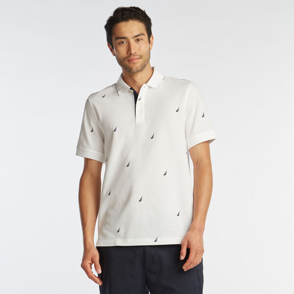 CLASSIC FIT J-CLASS PRINT MESH POLO - Bright White