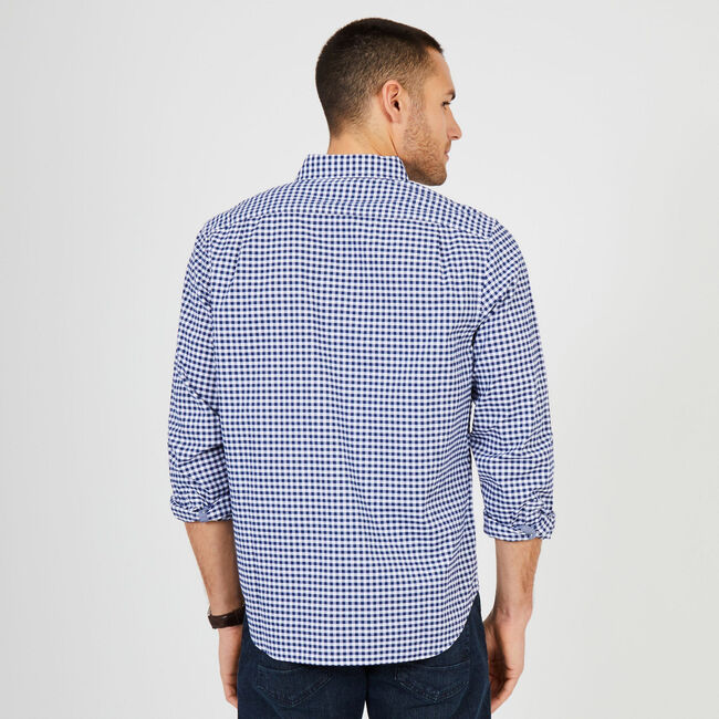 Gingham Classic Fit Oxford Long Sleeve Shirt,J Navy,large