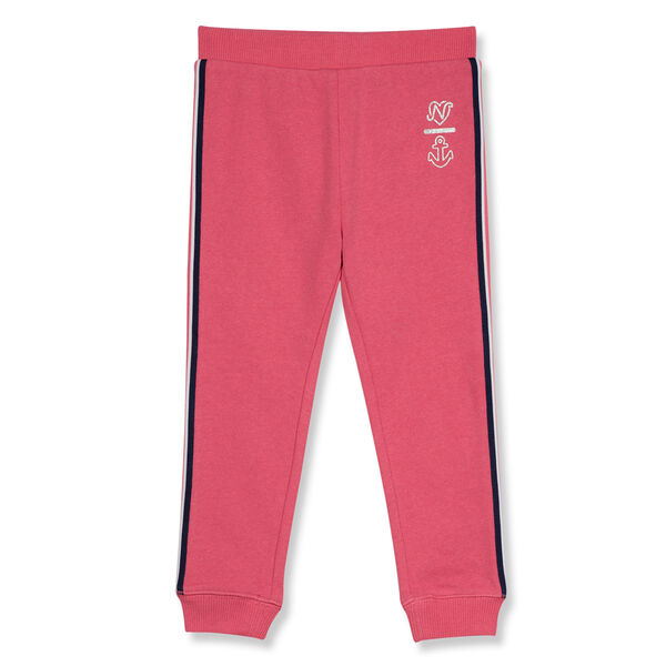 Little Girls' Fleece Joggers with Tapping (4-6X) - Pomegranate