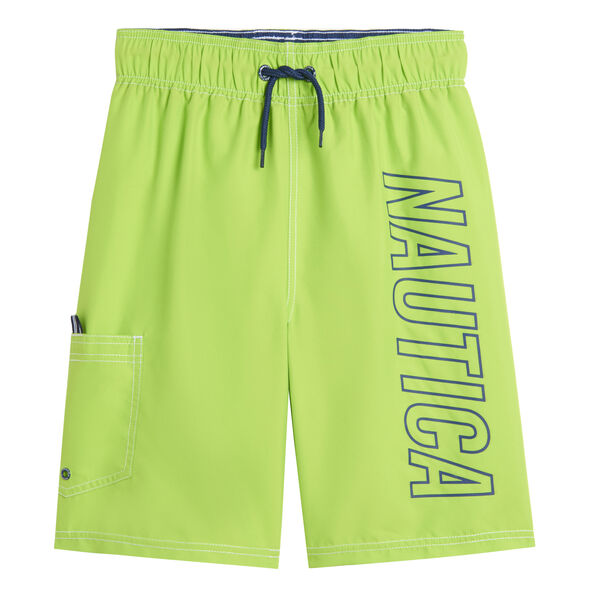 LITTLE BOYS' SIDE LOGO GRAPHIC SWIM SHORT (4-7) - Green Terrain