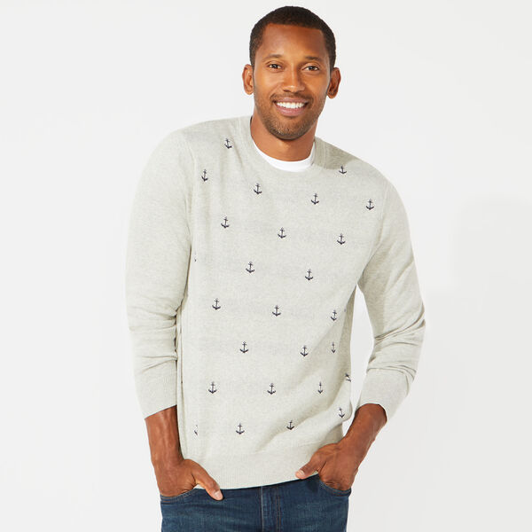 ANCHOR PRINT JACQUARD CREWNECK SWEATER - Grey Heather
