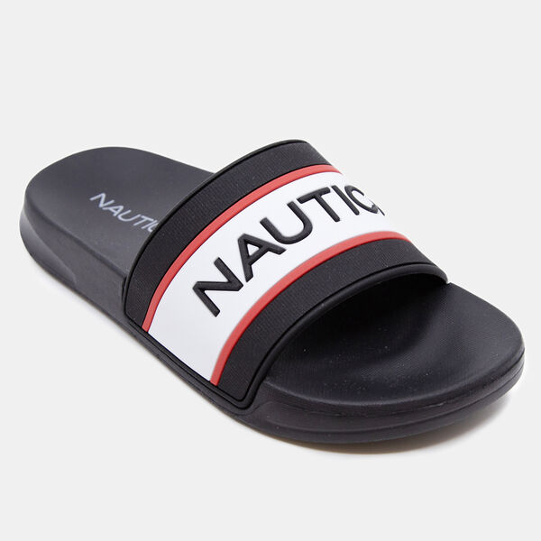BOY'S EMBOSSED LOGO SLIDE SANDAL - Black