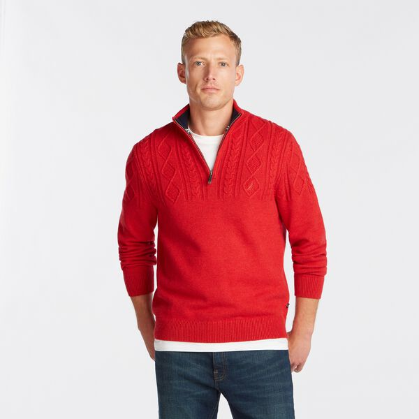 QUARTER-ZIP CABLE-KNIT SWEATER - Camellia Rose
