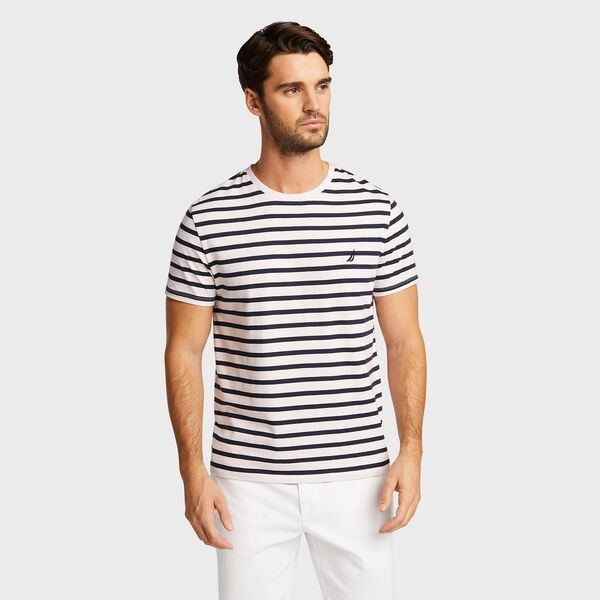 Short Sleeve Yarn Dyed Stripe Crewneck T-Shirt - Pimento