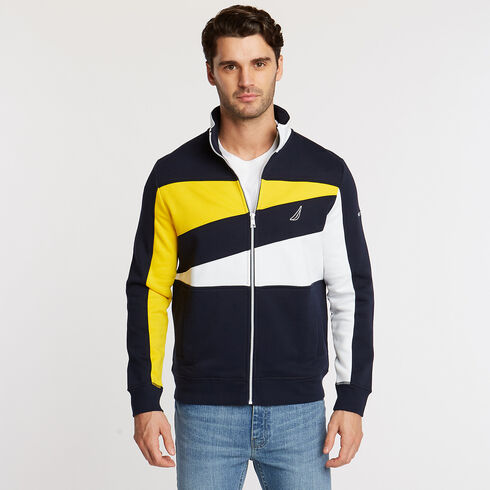 DIAGONAL CHEST STRIPE KNIT JACKET - Navy