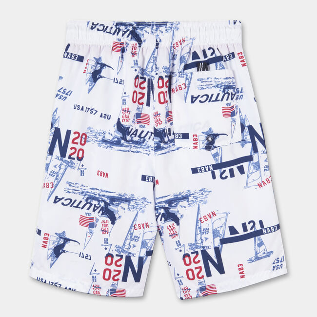 LITTLE BOYS' SAYLOR NAUTICAL PRINTED SWIM TRUNKS (4-7),Antique White Wash,large