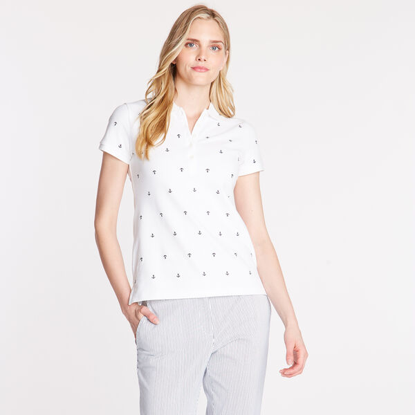Anchor Motif Classic Fit Short Sleeve Polo - Bright White