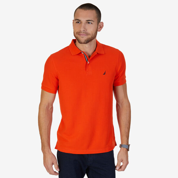 Short Sleeve Slim Fit Performance Tech Polo Shirt - Spicy Orange