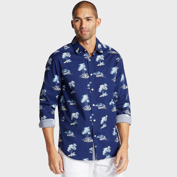 Classic Fit Shirt in Palm Tree Print - Blue Depths