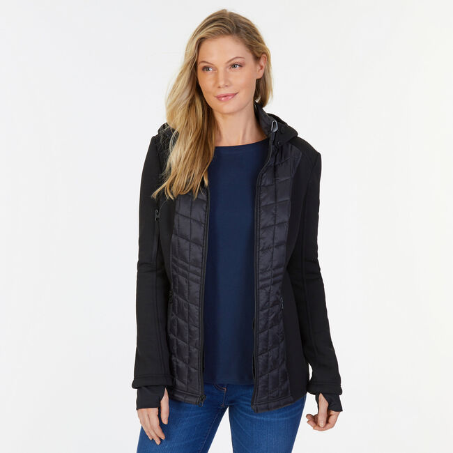 Quilted Full-Zip Coat,True Black,large