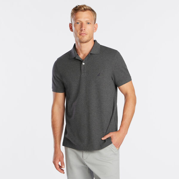 SLIM FIT DECK POLO - Charcoal Heather