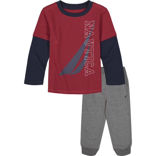 TODDLER BOYS' THERMAL 2PC JOGGER SET (2T-4T) - Melonberry