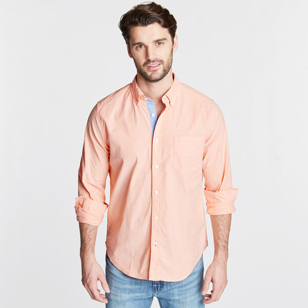 Long Sleeve Classic Fit Solid Oxford Shirt - Sun Coast Orange