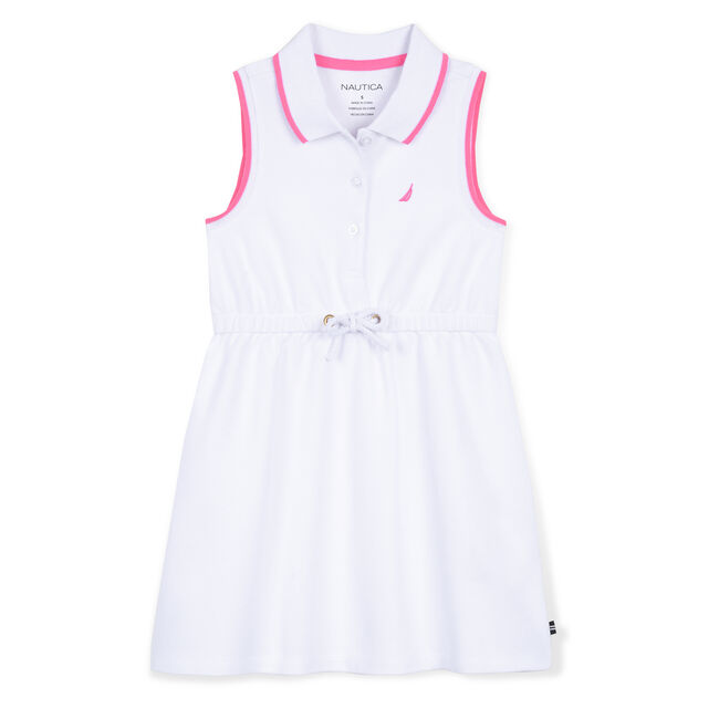 Little Girls' Piqué Polo Dress (4-7),White,large