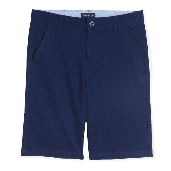 BOYS' FLAT FRONT DECK SHORT - Oyster Bay Blue