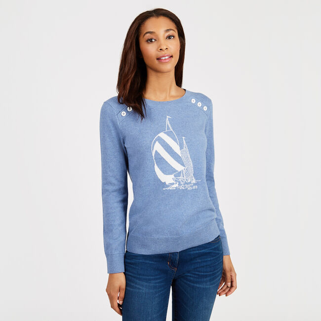 Spinnaker Long Sleeve Marled Sweater,Cornflower Blue,large