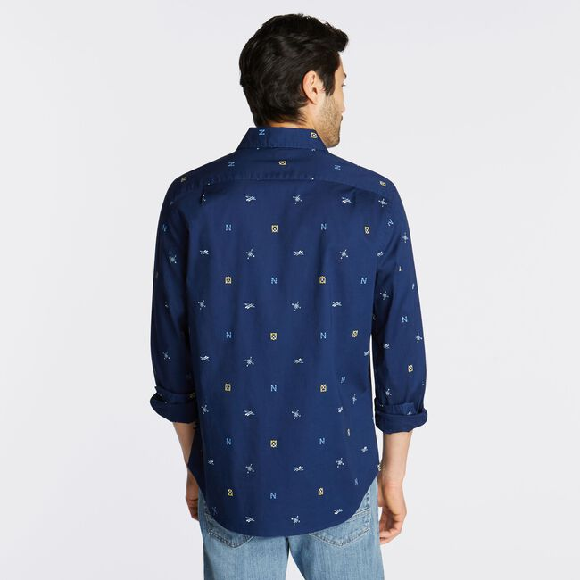CLASSIC FIT OXFORD SHIRT IN NAVY PRINT,J Navy,large