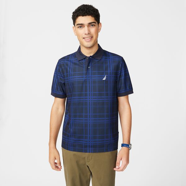 SUSTAINABLY CRAFTED NAVTECH PLAID POLO - Navy