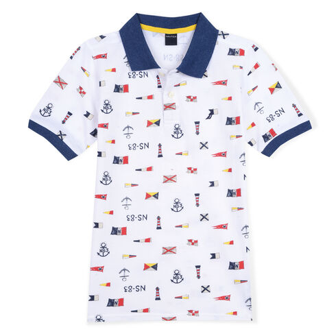 Boys' Bobby Polo in Flag Print (8-20) - White