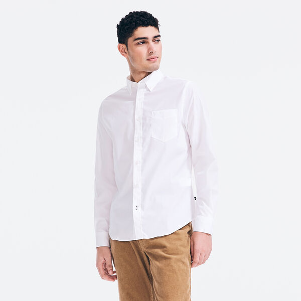 SLIM FIT WRINKLE-RESISTANT SOLID SHIRT - Bright White